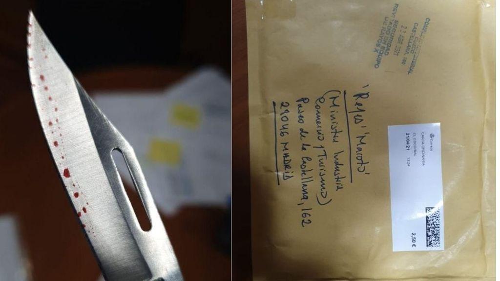 La ministra de Industria, Reyes Maroto, recibe una carta con una navaja ensangrentada