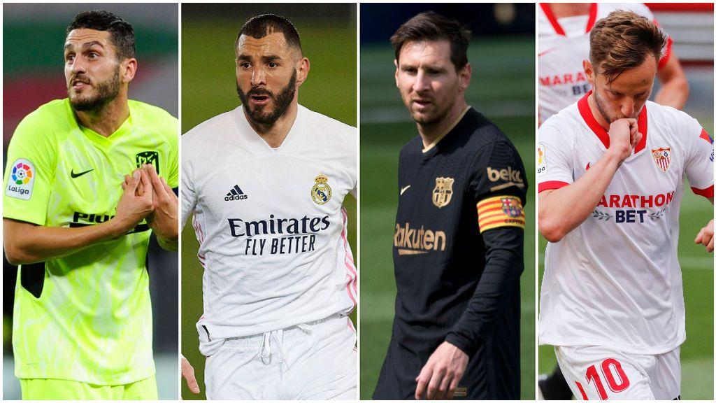 Atlético, Real Madrid, Barça y Sevilla luchan por la Liga.
