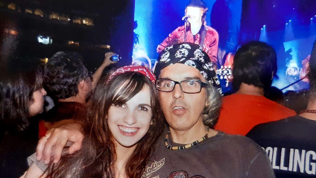 Roberto y su hija Maitane en un concierto de los Rolling Stones