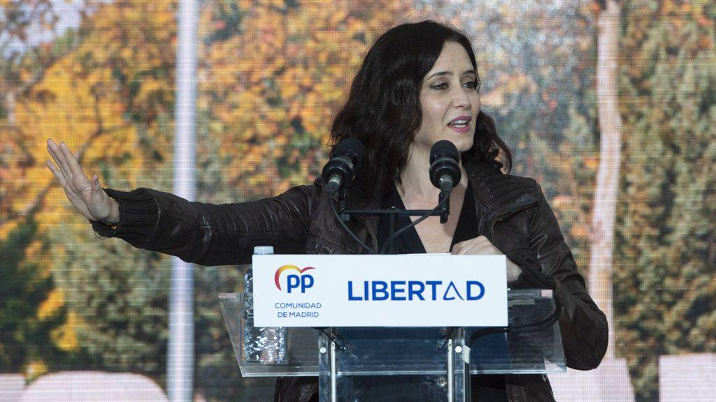 Isabel Díaz Ayuso en un acto del PP