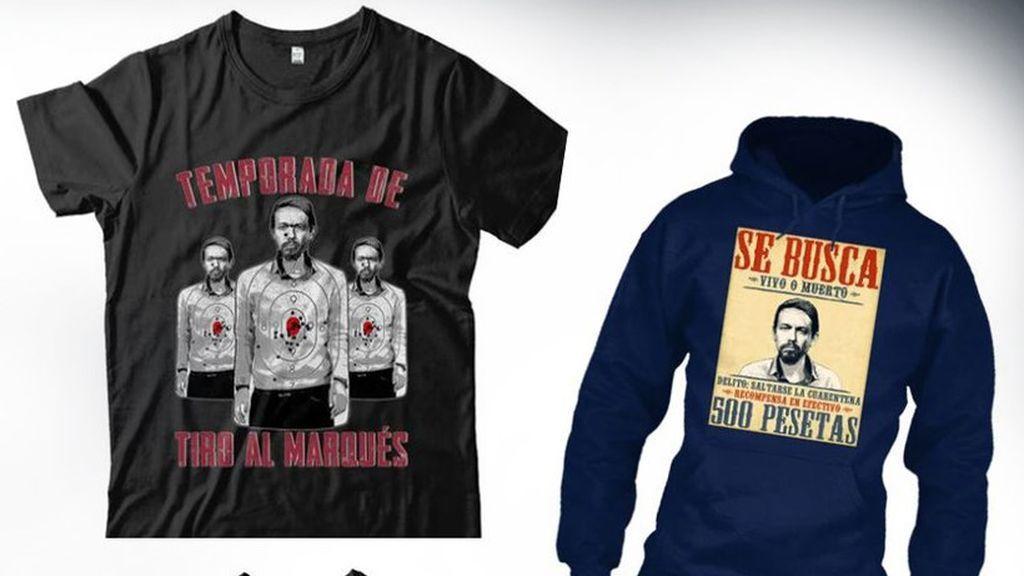 """Camisetas con el lema """"Se busca vivo o muerto"""" y la imagen de Pablo Iglesias"""