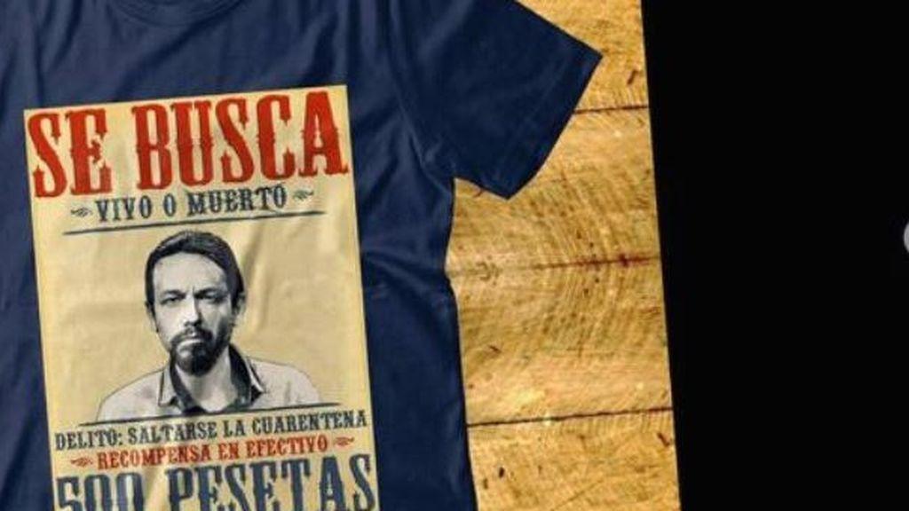 """Facua denuncia la venta de camisetas con Pablo Iglesias en una diana y la frase """"se busca vivo o muerto"""""""