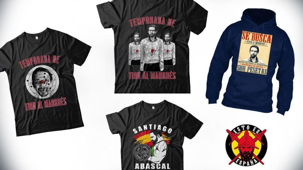 Imagen de las camisetas denunciadas por Facua