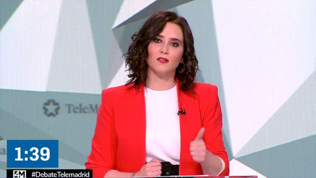 Isabel Díaz Ayuso en el debate del 4M