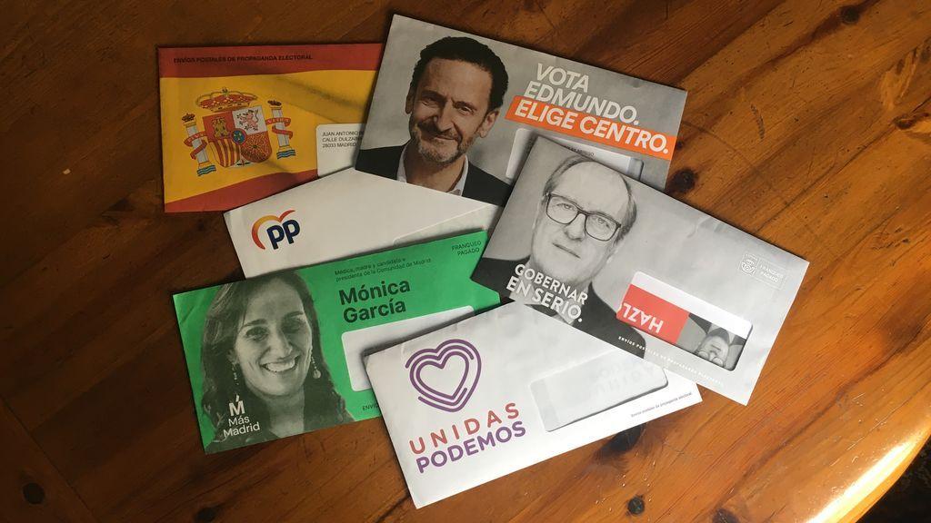 Sobres de propaganda electoral para el 4M