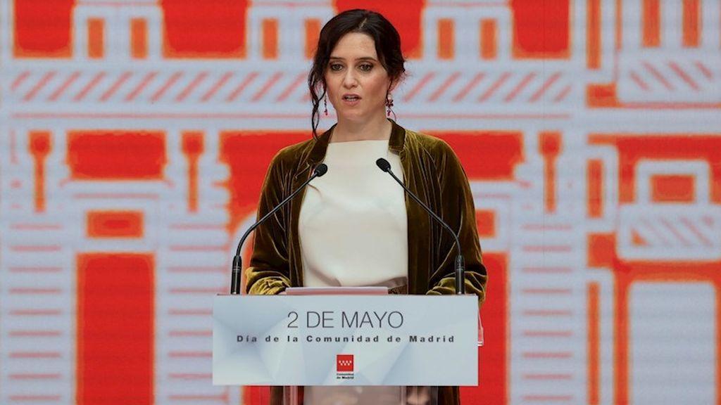 """Ayuso llama el Dos de Mayo a """"renovar la concordia"""" en un discurso institucional con alusiones a la """"libertad"""""""