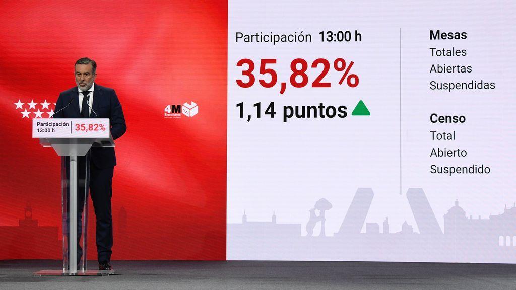 El consejero de Justicia, Interior y Víctimas, Enrique López, informa sobre la participación a las 13.00
