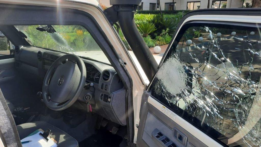 Estado en el que quedó el vehículo tras el ataque