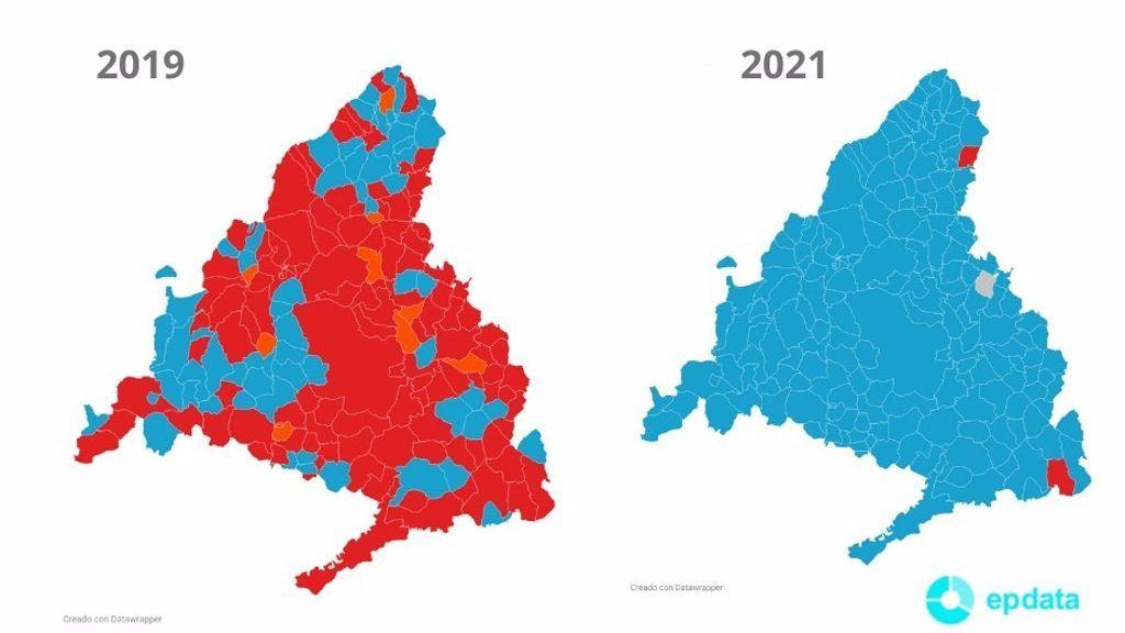 El mapa de la victoria de Ayuso: los gráficos de las elecciones de Madrid