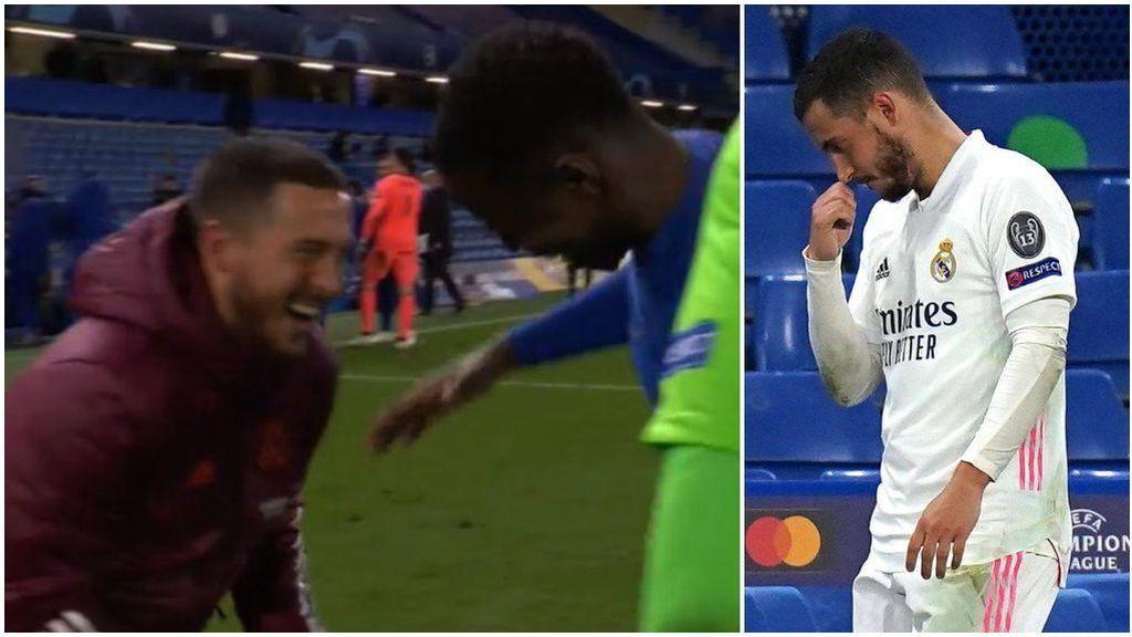 Hazard se ríe con Zouma tras el Chelsea - Real Madrid.