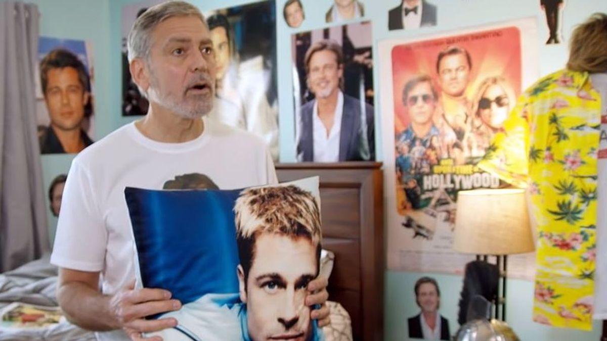Que viva el 'bromance': George Clooney tiene una habitación en su casa forrada con la cara de Brad Pitt