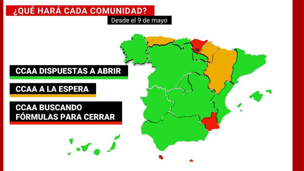 La posición de las comunidades a partir del 9-M: las que abrirán, las que pretenden cerrar y las que dudan