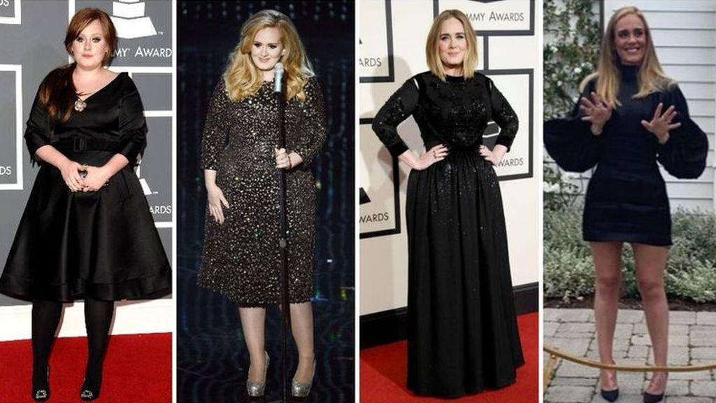La evolución física de Adele, con su mítico vestido negro