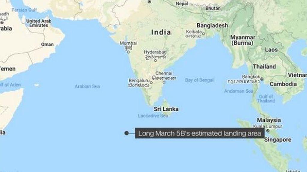 Los restos del cohete chino habrían caído al oeste de las Maldivas en el océano Índico