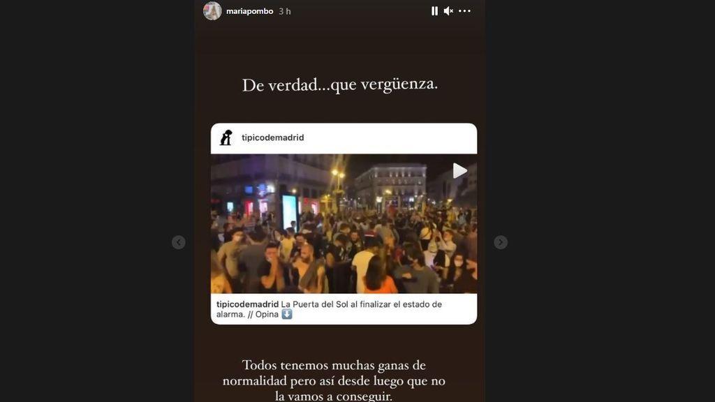 María Pombo reacciona a las celebraciones por el fin del estado de alarma