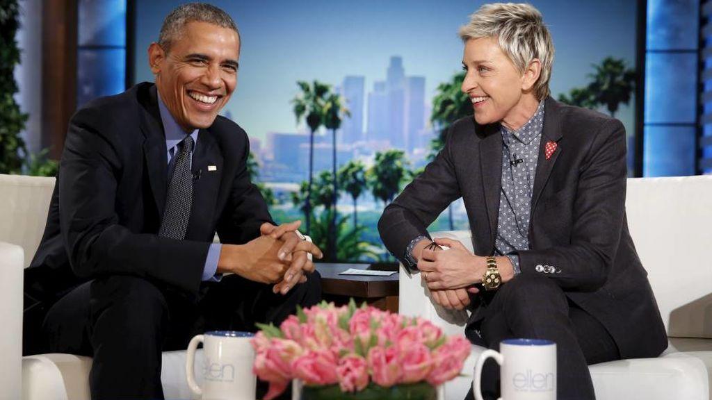 Ellen DeGeneres, entrevistando a Barack Obama