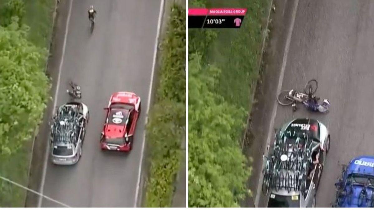 Un coche de equipo atropella a un ciclista en el Giro de Italia por ir hablando con otro conductor