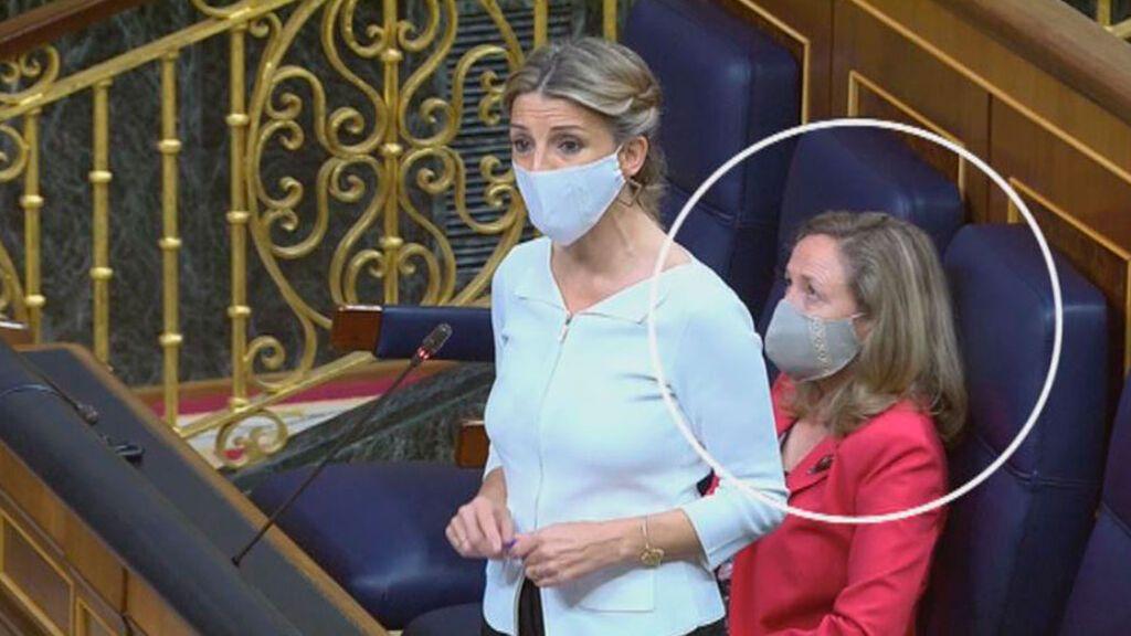 El gesto de la ministra Calviño cuando la titular de Trabajo habla de derogar la reforma laboral