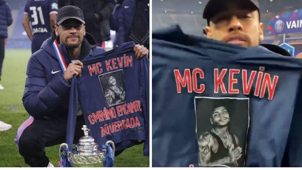 """Neymar homenajea a MC Kevin, su amigo fallecido, tras ganar la Copa francesa: """"Para mi niño que cantaba"""""""