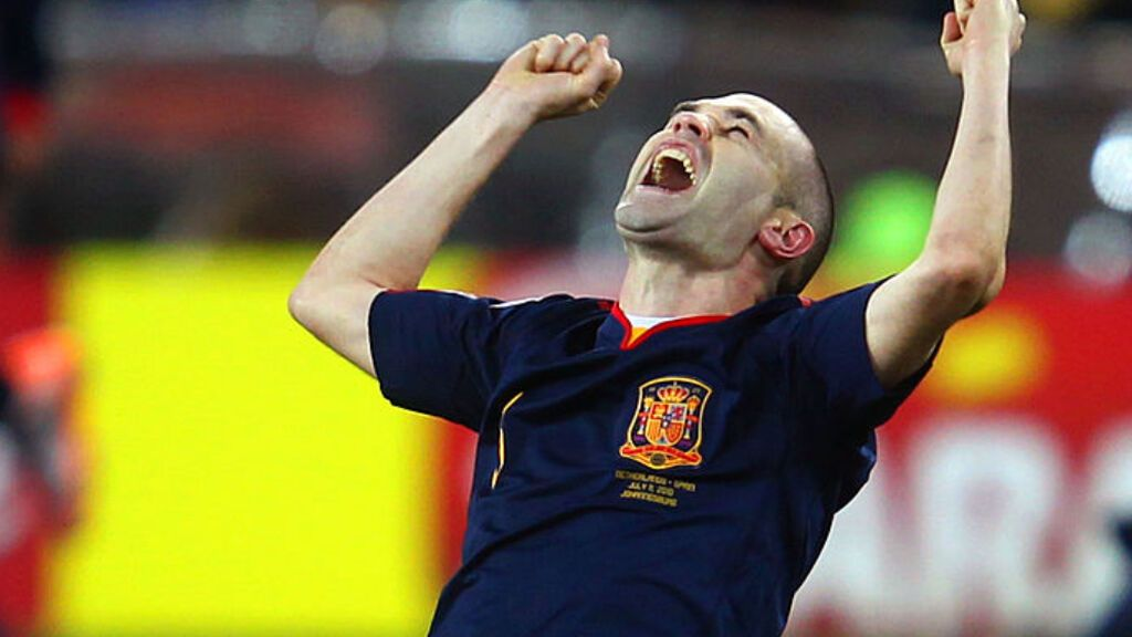 Andrés Iniesta celebrando el triunfo ante Holanda en el Mundial de Sudáfrica