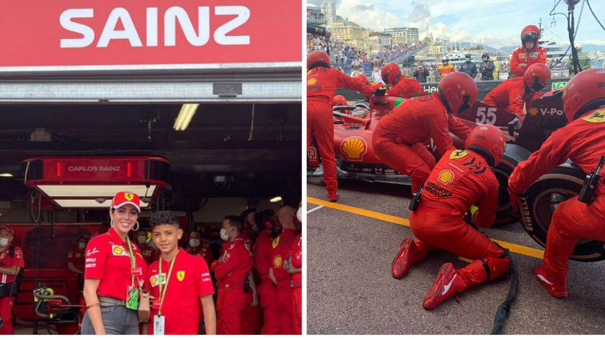 Ferrari regala una experiencia inolvidable a Cristiano JR y Georgina: estuvieron en el garaje del equipo en Mónaco