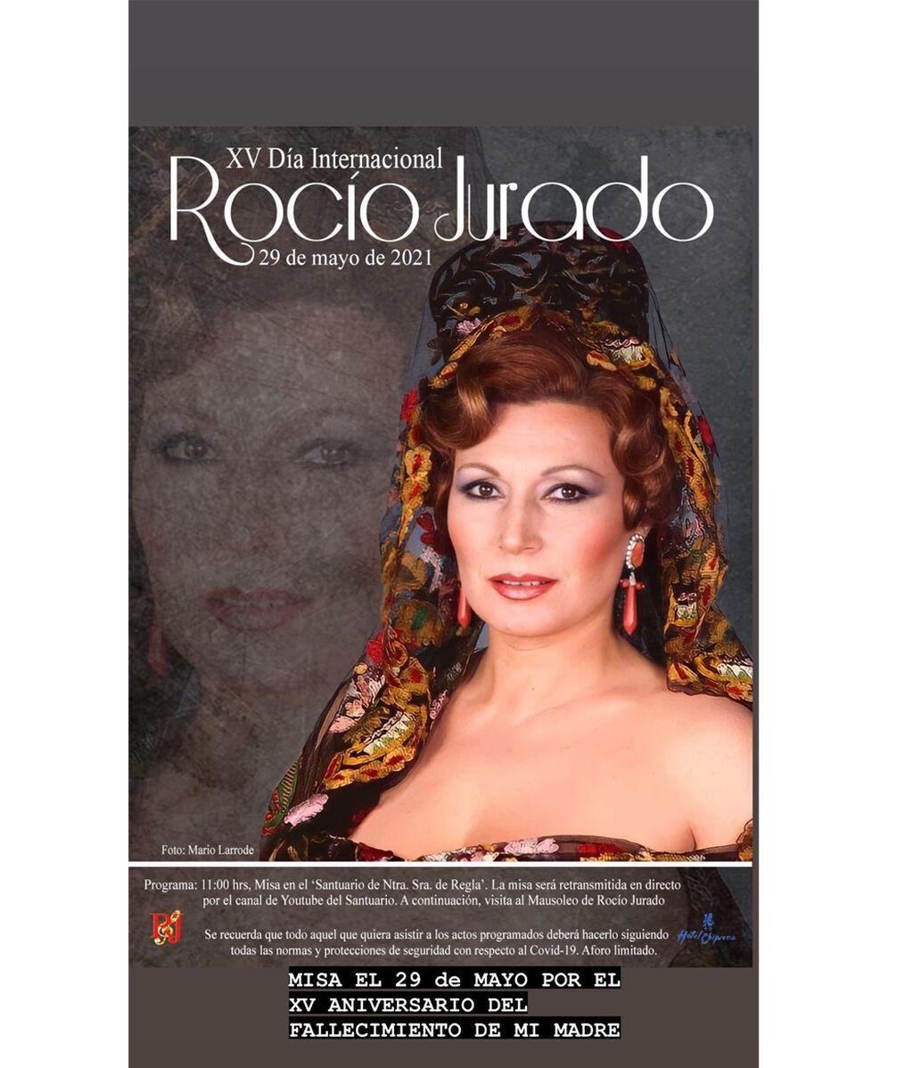 Cartel que ha mostrado Gloria Camila con el homenaje que se hará a Rocío Jurado