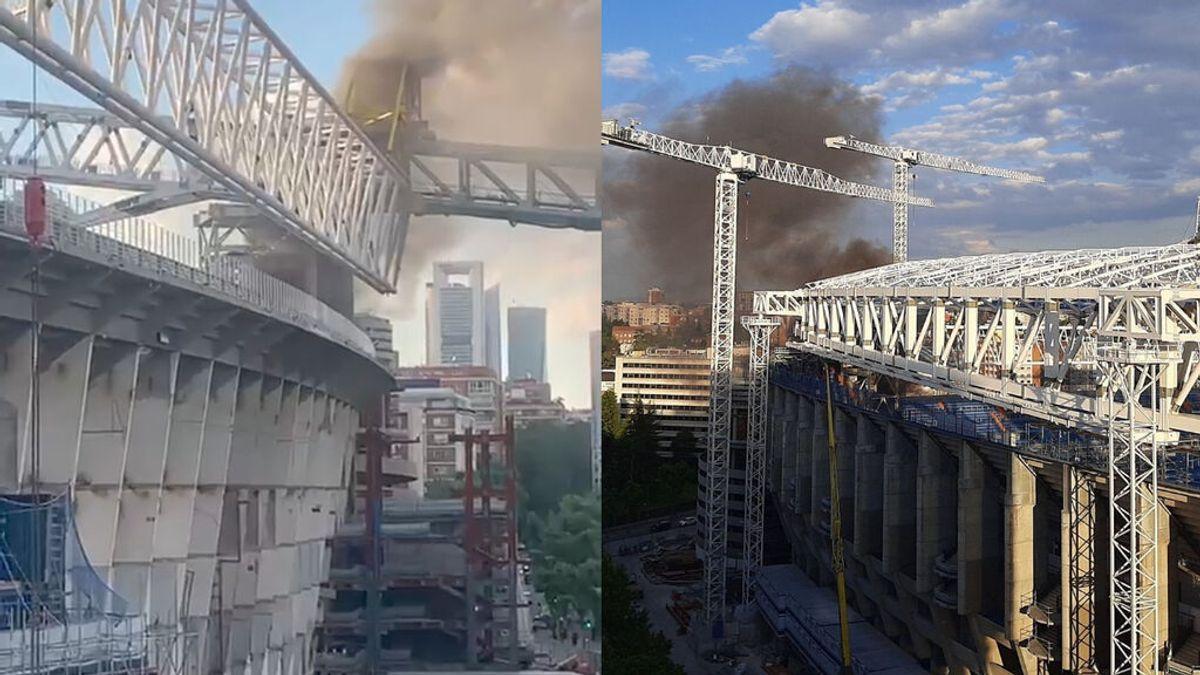 Incendio declarado en las obras del Santiago Bernabéu