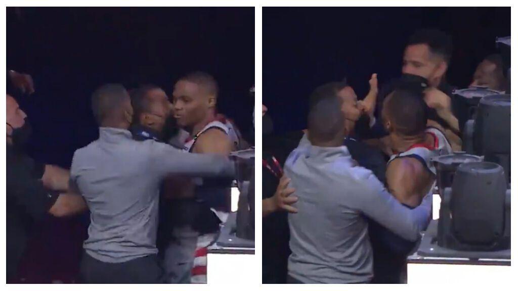 El Enfado monumental de Westbrook ante Philadelphia en Playoffs: se retira lesionado y le tiran palomitas