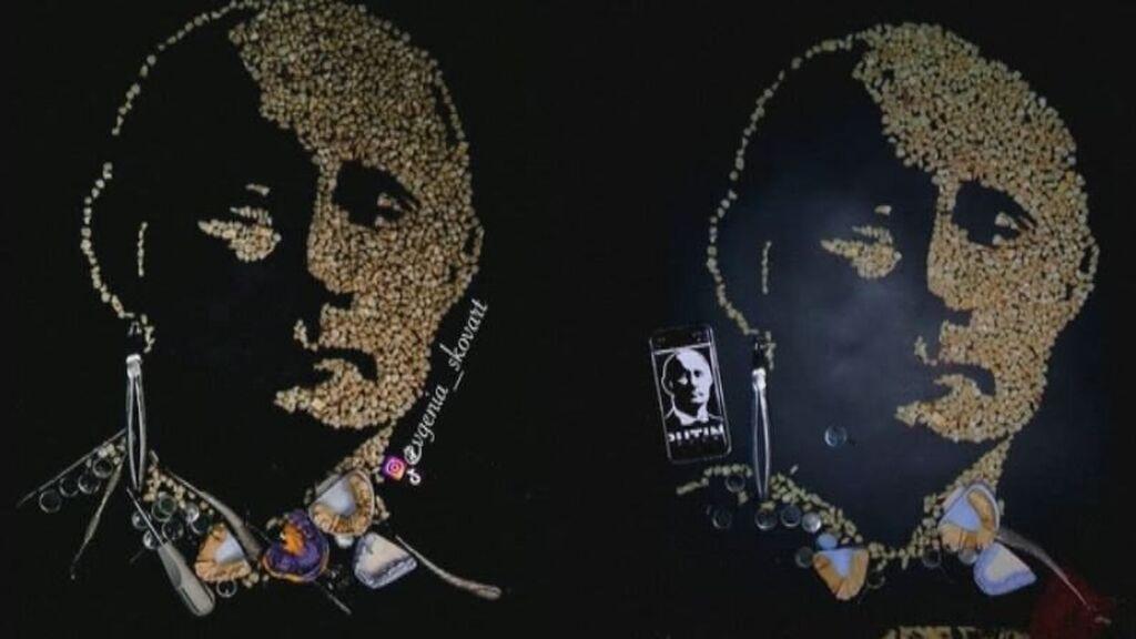Una artista rusa crea un retrato de Putin con 500 dientes humanos