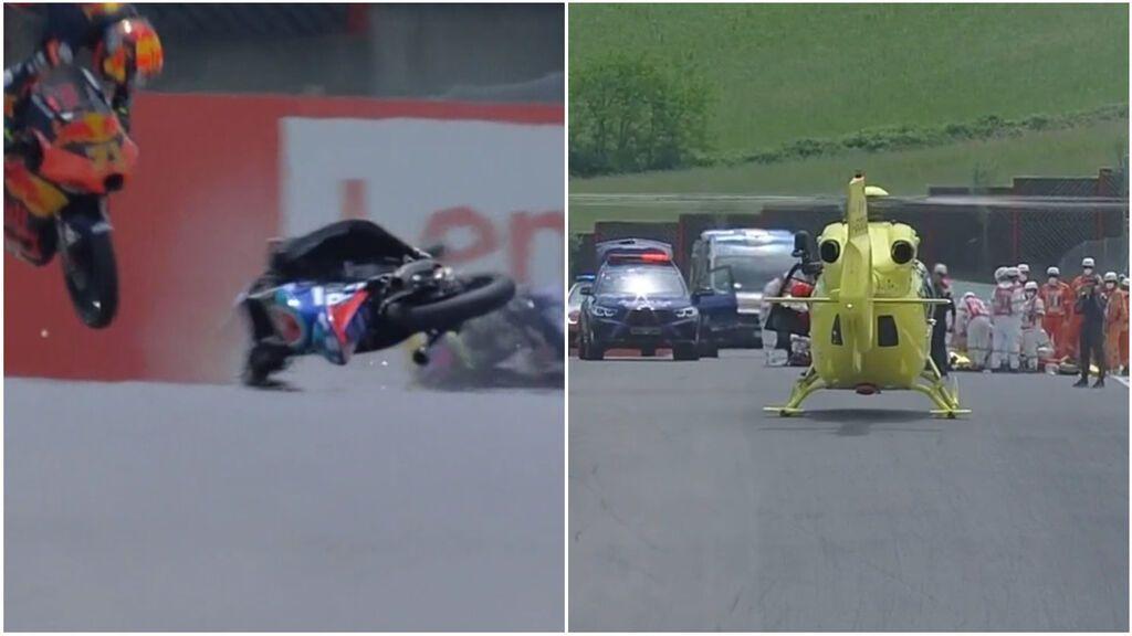 El brutal accidente de Dupasquier que protagonizó en Moto3 por el que tuvo que se evacuado en helicóptero