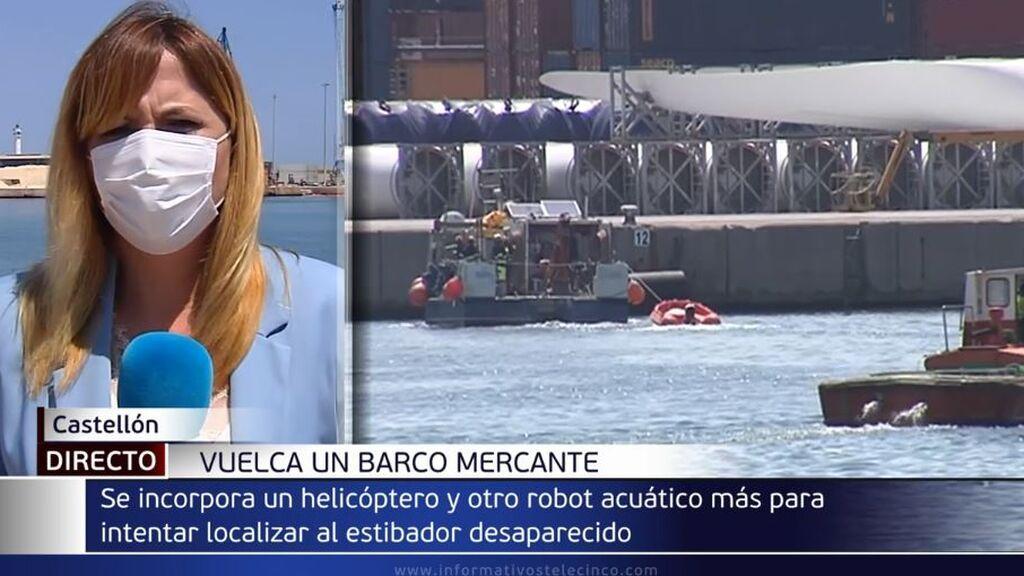 Se reanuda la búsqueda del segundo desaparecido, un estibador de 36 años, en el puerto de Castellón