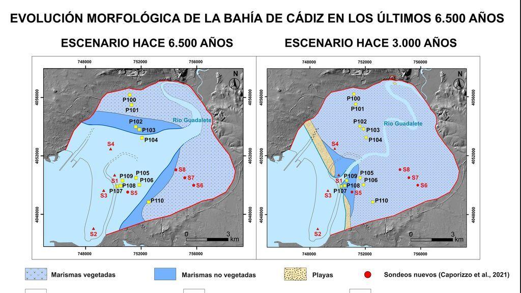 La evolución de la bahía de Cádiz entre 6.500 años AC y 3000 AC