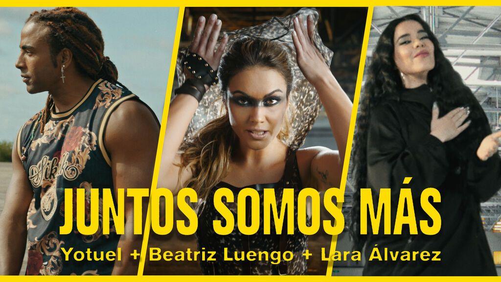 La canción y el videoclip 'Juntos somos más' compuesto e interpretado por Lara Álvarez, Yotuel y Beatriz Luengo para la Eurocopa llega a todas las plataformas musicales