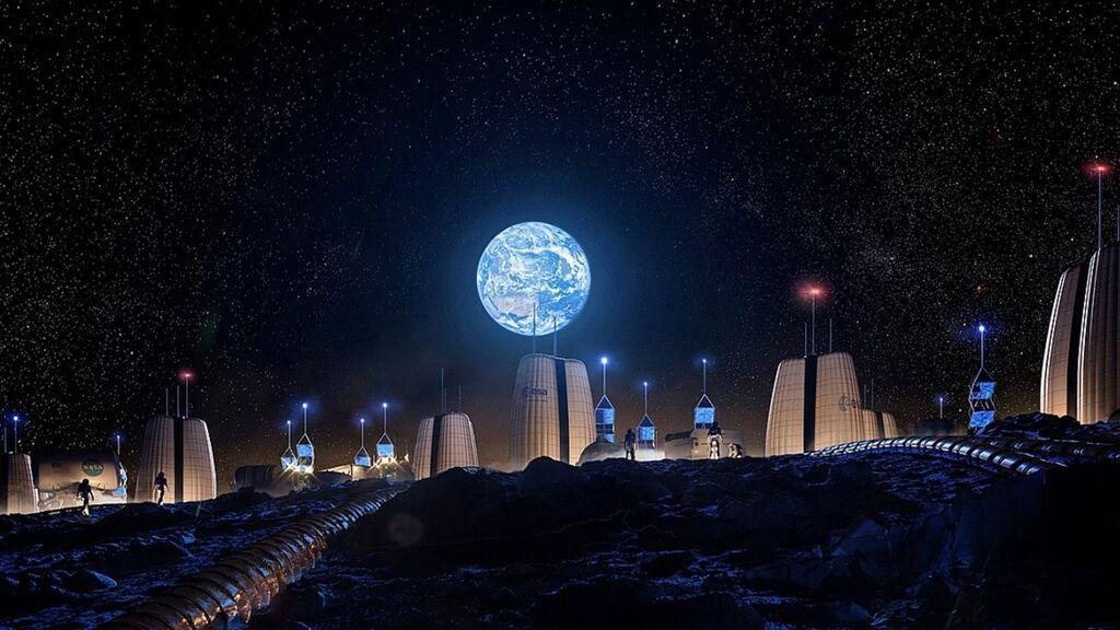 Inmejorables vistas al borde de un cráter, así es la casa hinchable para vivir en la Luna de la ESA