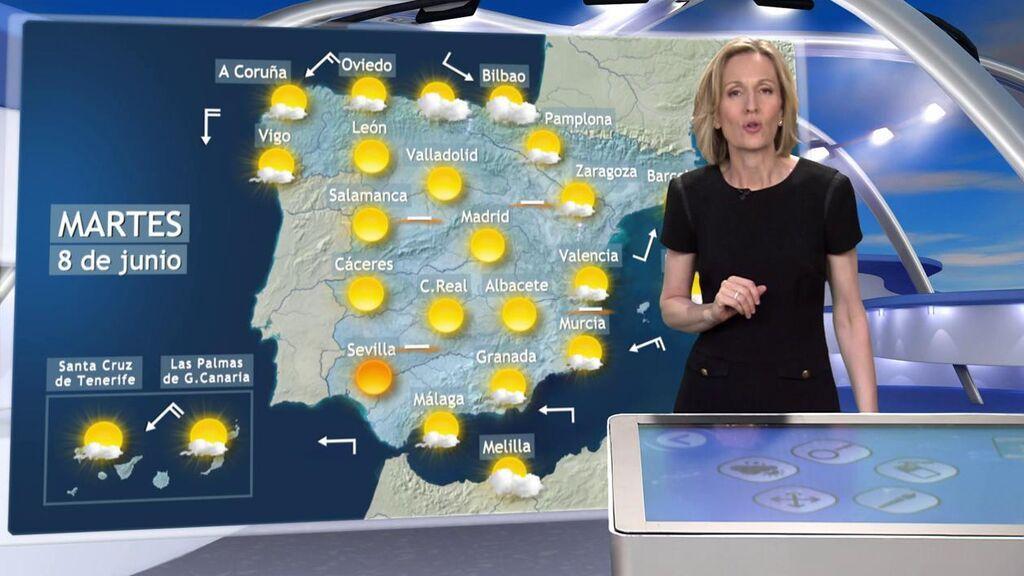 Los termómetros van a sumar hasta 8 ºC en España: el tiempo que hará el martes