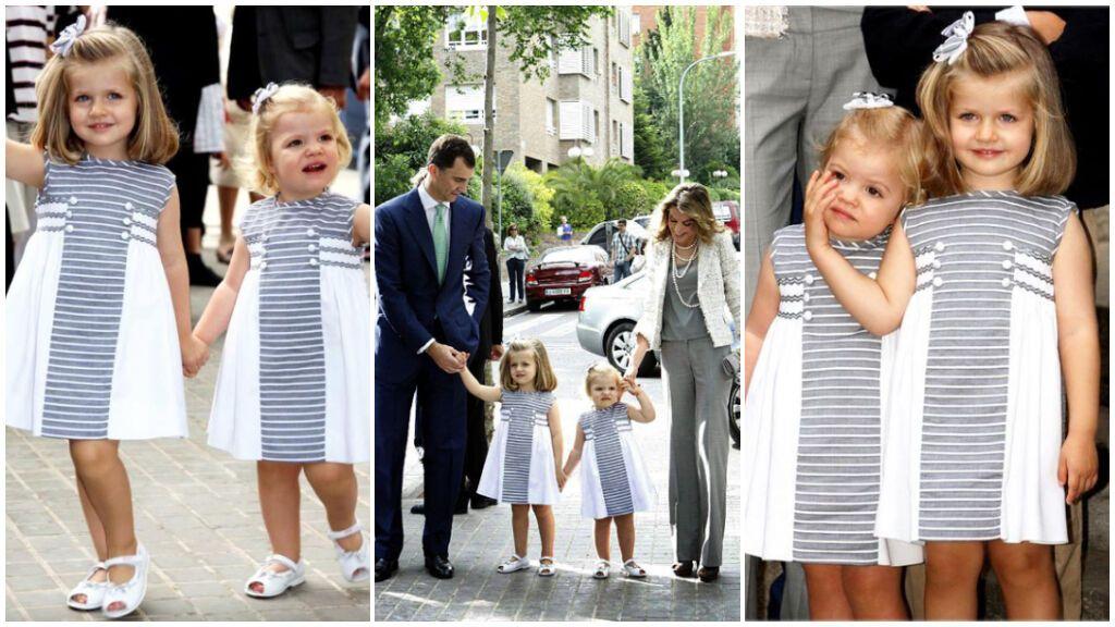 Para la Comunión de sus primos eligieron un vestido de rayas marineras.