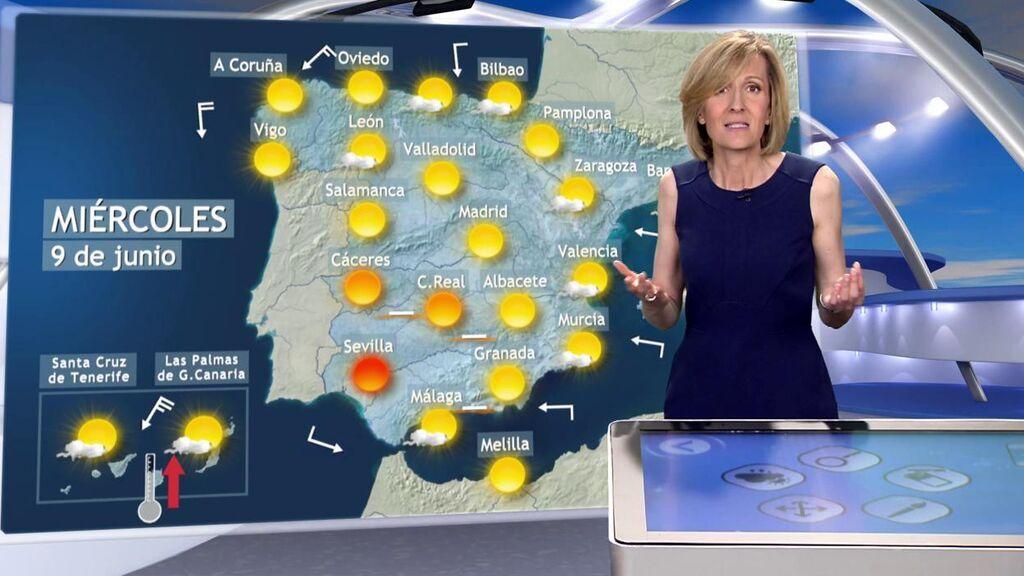 Más de 35 ºC y tormentas puntuales: el tiempo que hará el miércoles en España