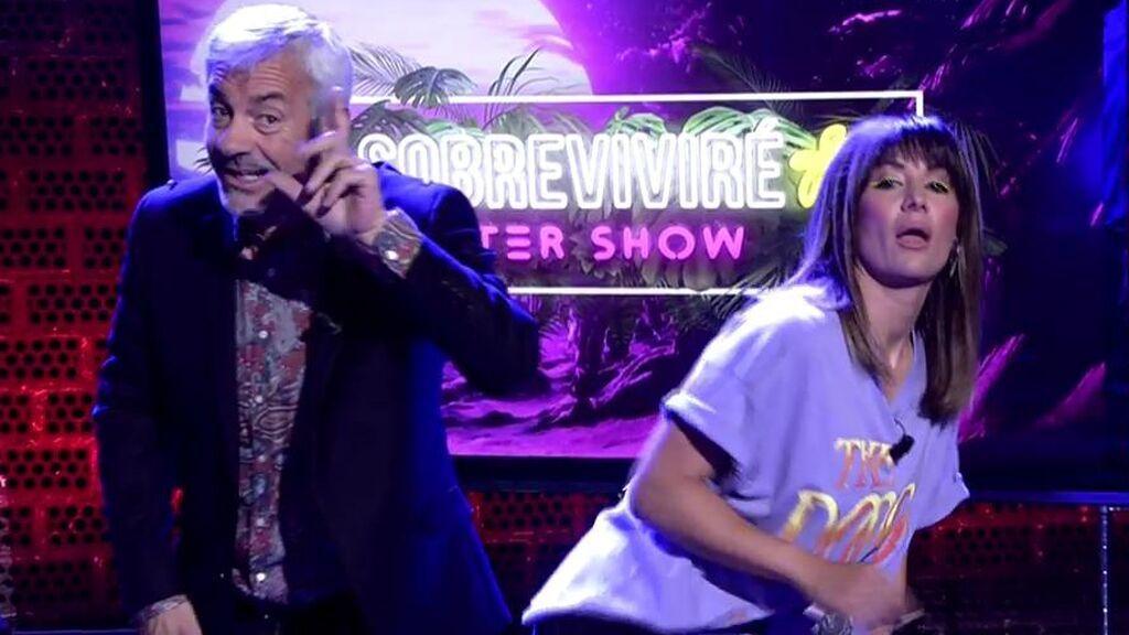 Nagore Robles revoluciona el plató antes de 'Sobreviviré: after show' logrando que Carlos Sobera baile 'twerking'