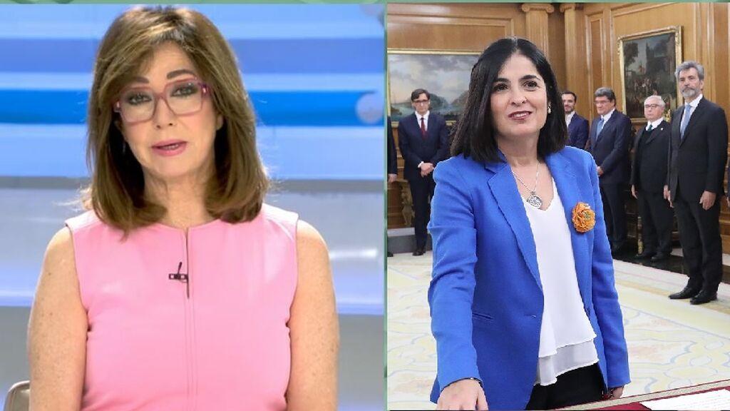 Ana Rosa no da crédito con la ministra de Sanidad