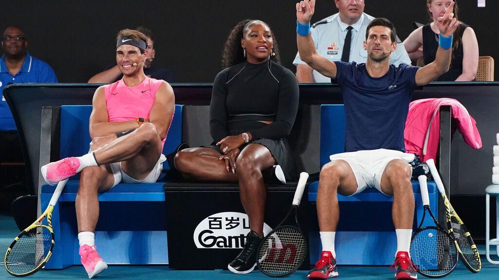 Rafael Nadal y Novak Djokovic, con Serena Williams en el centro.