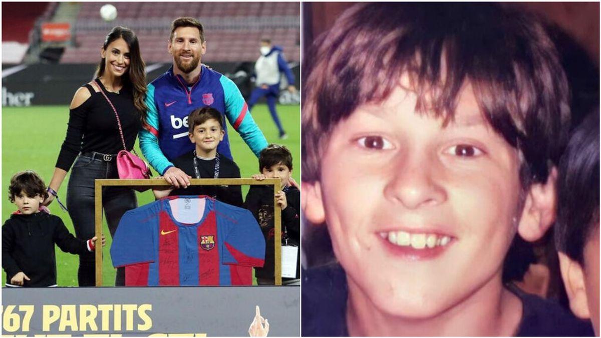 """Antonella Roccuzzo juega a las siete diferencias entre Messi y sus hijos: """"¿Igualito a mí no?"""