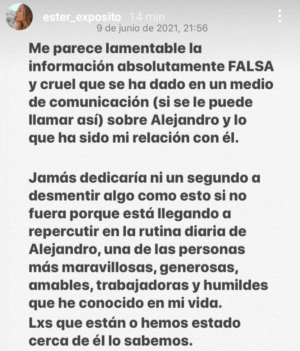 El comunicado de Ester Expósito en Instagram