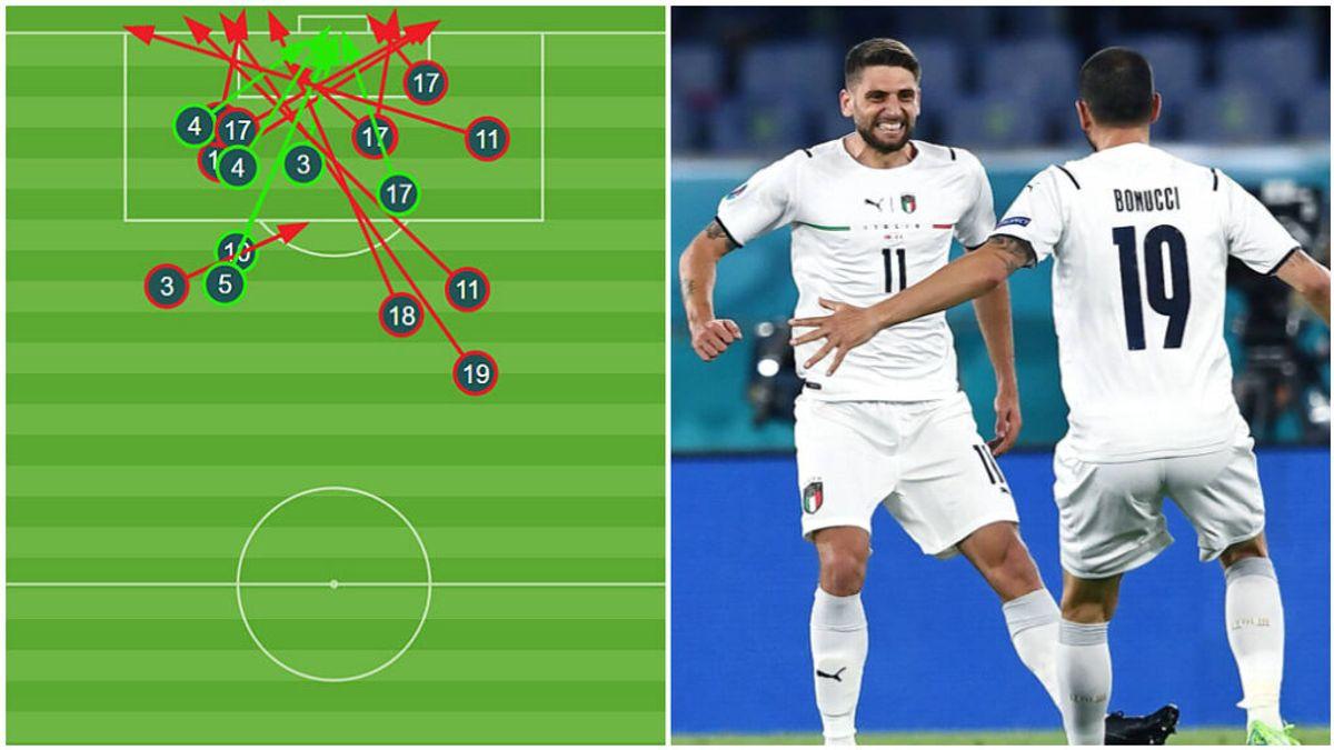 Los jugadores italianos dispararon a puerta desde cualquier zona.