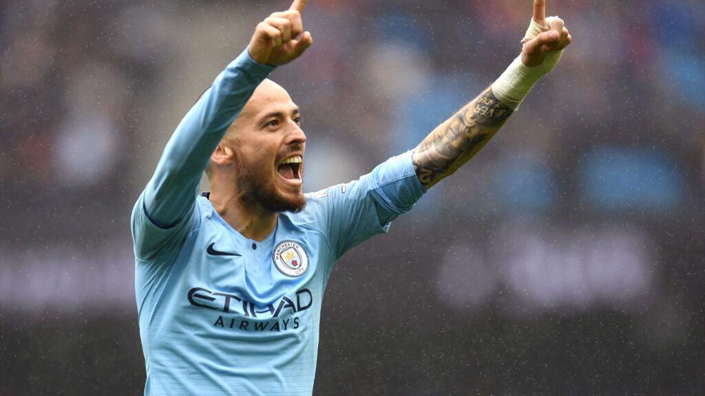 David Silva celebrando un gol con el Manchester City