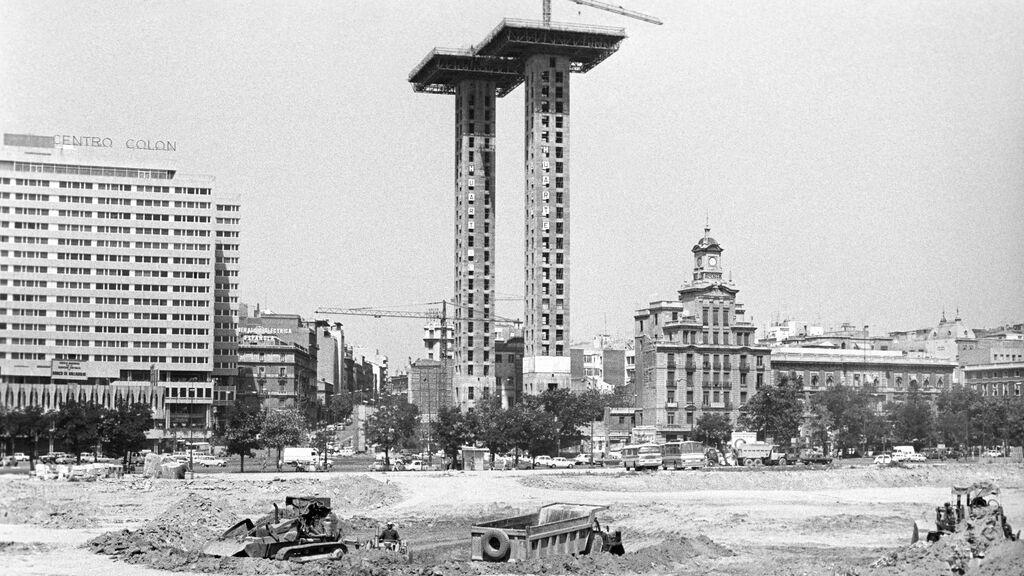 Plaza de Colón en obras en los años 70