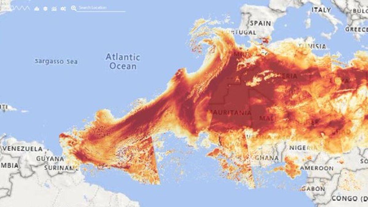 La misma nube de polvo del Sáhara que enturbia el cielo canario llega al Caribe y EEUU