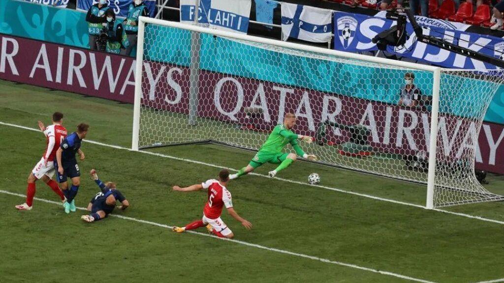 Pohjansapalo marca un gol histórico de cabeza ante Dinamarca (0-1) y no lo celebra por respeto a Eriksen