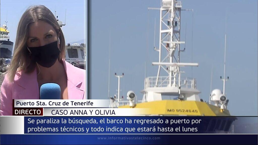 El buque que busca a Anna y a Tomás Gimeno en Tenerife vuelve a puerto por una avería