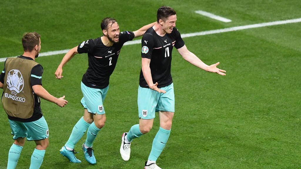 Alaba saca la escuadra y el cartabón para servirle un caramelito a Gregoritsch y poner el gol de victoria ante Macedonia (2-1)