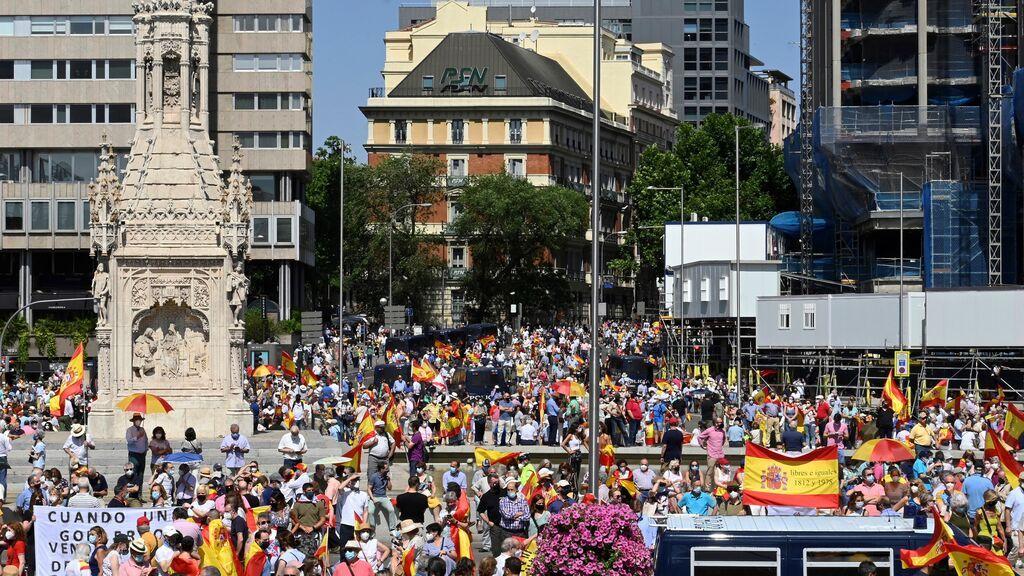 Aforo completo en Colón en la manifestación contra los indultos a los líderes del procés condenados